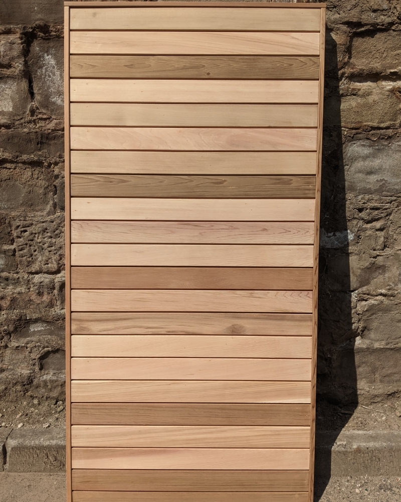 Our solid cedar gate comes in a standard size of 900mm wide x 1790mm high