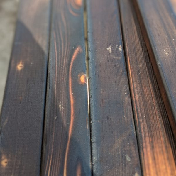 Our charred larch slats are available in rare, medium and well done charring