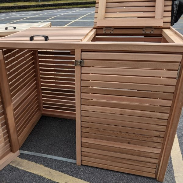 Our slatted cedar bin stores come with a roof hatch for easy access