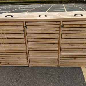 Our Larch triple wheelie bin store has been made for use with the standard 240l wheelie bins