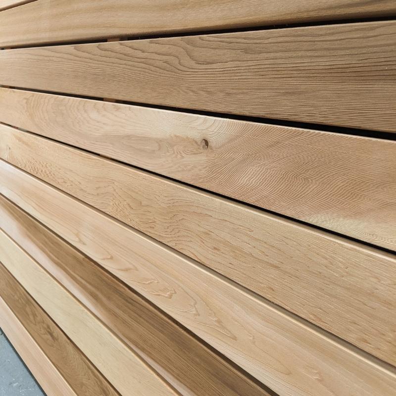 Our wide board cedar panel uses 94mm Canadian cedar battens